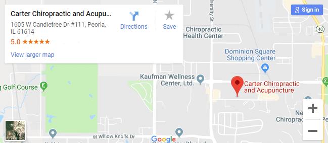 map of Peoria chiropractors